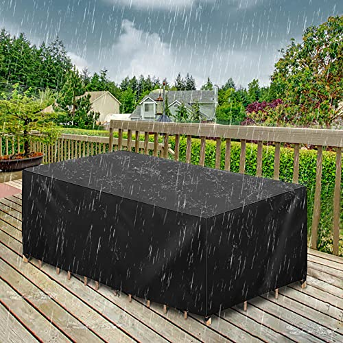 """GEMITTO Patio Furniture Covers, 126"""" L x 63"""" W x 29"""" H Extra Large Waterproof Outdoor Table Cover, 420D Rectangular Patio Furniture Set Sofa Covers, Resistant for Rain Snow Dust Anti-UV Windproof"""