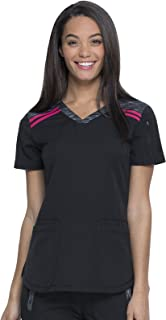 Dickies Dynamix DK740 Women's V-Neck Top, Black/Hot Pink, Small