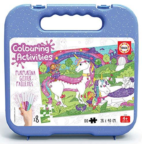 Educa- Colouring Activities Puzzle de 100 Piezas para Colorear Unicornios Glitter, con Purpurina, a Partir de 4 años (18066)
