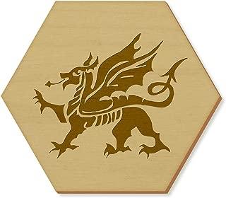 Azeeda 6 x 'Welsh Dragon' 95mm Hexagon Wooden Coasters (CR00028590)