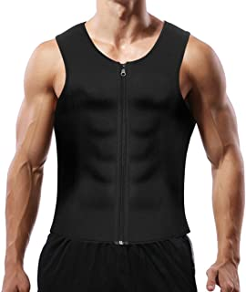 Men Sauna Sweat Vest Weight Loss Waist Trainer Vest for Men, Hot Neoprene Corset Body Shaper with Zipper, Sauna Tank Top M...