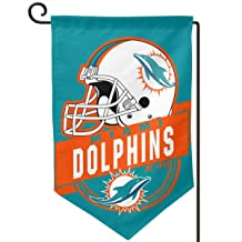 Marrytiny Design Colorful Garden Flags American Football Team Miami Dolphins Durable Double Sided 12.5 x 18 Inch 100% Polyester Home House Wall Flag Decor
