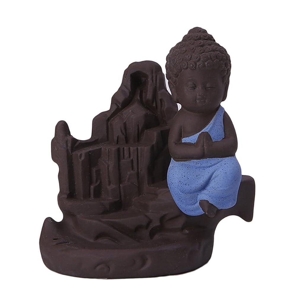 アトラス柔らかい足校長Fenteer セラミック 仏 逆流コーン 香炉ホルダー 香バーナー 装飾的 3色選べる - ブルー