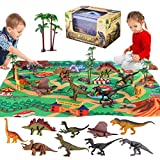 Dinosaur Toys, Jurassic World Toys Educational Playset Have 9 Ddinosaurs Action Figure Play Mat & Trees, New Year Christmas Birthday Gifts for 3 4 5 6 Kids Boys Girls Toddler (Style2)