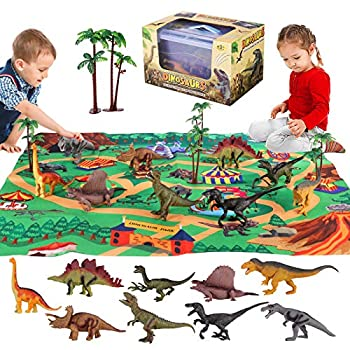 Dinosaur Toys Jurassic World Toys Educational Playset Have 9 Ddinosaurs Action Figure Play Mat & Trees New Year Christmas Birthday Gifts for 3 4 5 6 Kids Boys Girls Toddler  Style2