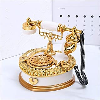 HYJXQ Retro Vintage Antique Telephone Music Box Old Fashioned with Push Button dial for Home Decor(Melody for Elise)