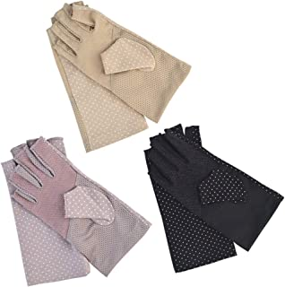 KKTOP 3 Pairs Sunscreen Gloves for Driving Riding, Khaki, Black, Light Pink, One Size