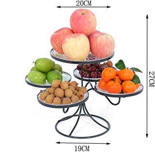 LYJxuan Multi-Functional Household Fruit Tray, Made of Metal Material, with 5 Plastic Trays for Cake Desserts, Snacks, Fruits, Etc (Black, White, Gold) (Color : Black)