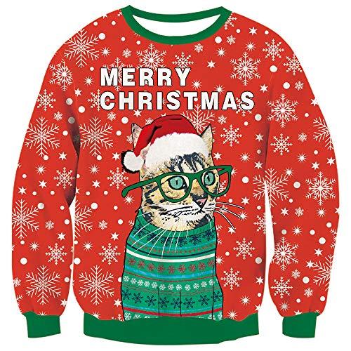 TUONROAD Damen Festival Bekleidung Schneeflocke Katze Lustiger Weihnacht Jumper Sweatshirts Langarm-Strickpullover XL