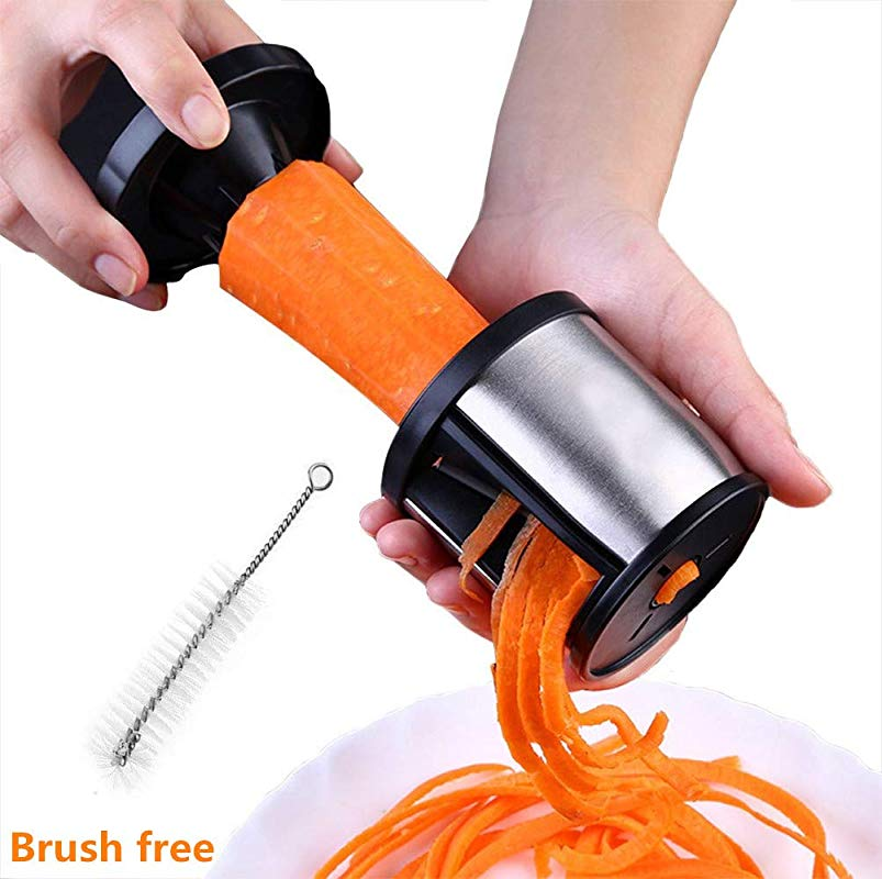 Vegetable Noodle Maker Spiralizer Spiral Slicer Cutter Zucchini Suquini Pasta Handheld Spaghetti Ribbon Manual Grater Stainless Steel For Potato Carrot Cucumber Cleaning Brush Free