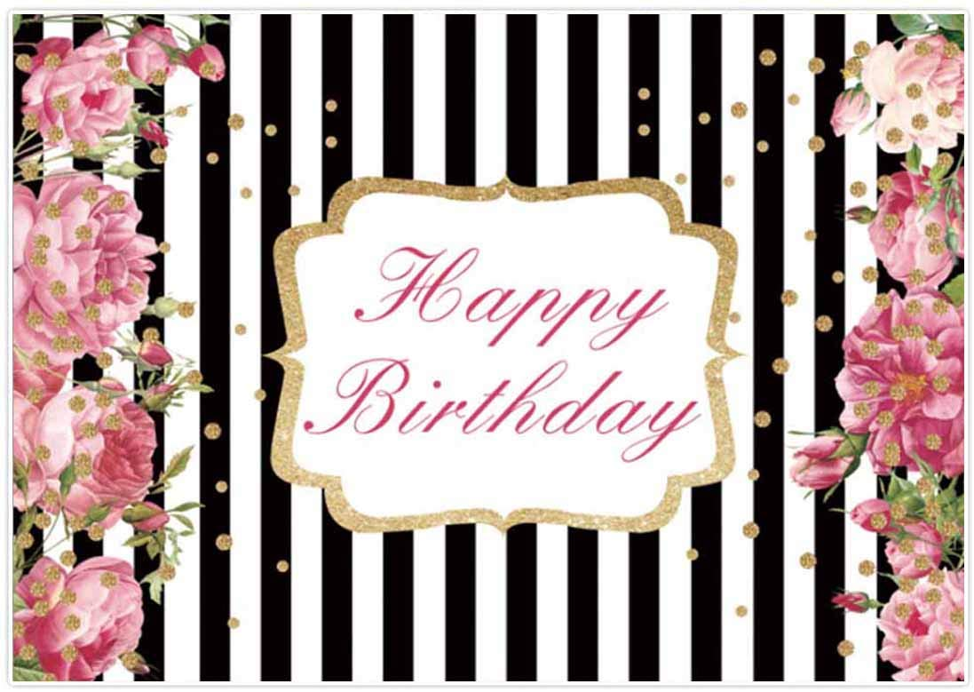 Flowers and Gold Polka Dots Birthday Personalized Banner