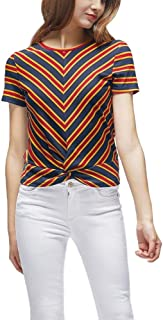 Howely Womens Short Sleeve Twist Knot Stitch Pinstripe Tops T-Shirt