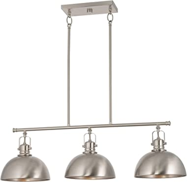 "Kira Home Belle 34"" 3-Light Modern Industrial Kitchen Island Light, Dome Shades + Swivel Joints, Brushed Nickel Finish"