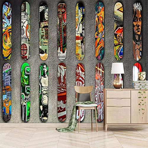 QJHLG Fototapete Tapete Vlies Tapeten Wandtapete Moderne Wandbild Wand Schlafzimmer Wohnzimmer Wandkunst Dekoration Poster, Skateboard 350X245Cm (B X H)