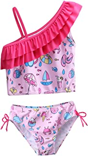BAOHULU Little Girls 3 Pieces Cherry Blossoms Pattern Lovely Tankini Swimear Swimsuit with Adjustable Straps 3-12 Years