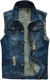ONLYTOP_Clothing Denim Vest,👍ONLYTOP👍 Men's Casual Button Up Slim Denim Vest Sleeveless Ripped Jean Waistcoat Jacket