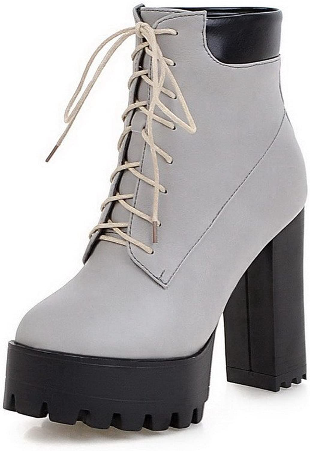 AllhqFashion Women's Soft Material Round Closed Toe Solid Low-top High-Heels Boots with Knot