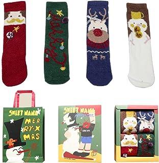 N&P, Calcetines de Navidad Invierno para Mujer Hombre Cálidos Calientes Vellón de Coral con Caja de Regalo Calcetines Térmicos de Piso Lindos Papá Noel Monigote de Nieve Reno
