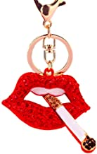JewelBeauty Red Lip with Cigarette Shape Sparkling Charm Blingbling Keychain Crystal Rhinestone Pendant