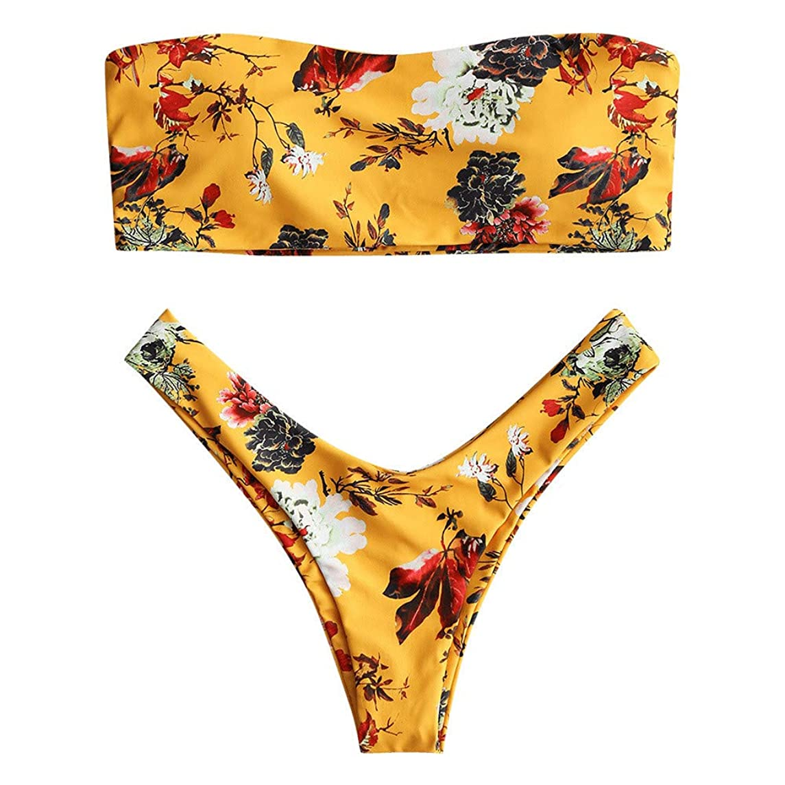 Women's Printed Tube Top Bikini Split Swimsuit Set Push-Up Off Shoulder Swimsuit Beachwear