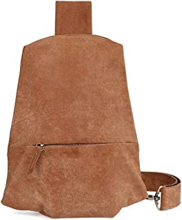 Men Genuine Leather Shoulder Bag Sport Chest Pack USB Charging Cross Body Breast Bag (Color : Brown, Size : S)