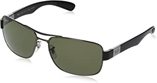 Men's RB3522 Square Metal Sunglasses, Gunmetal/Polarized Green, 61 mm