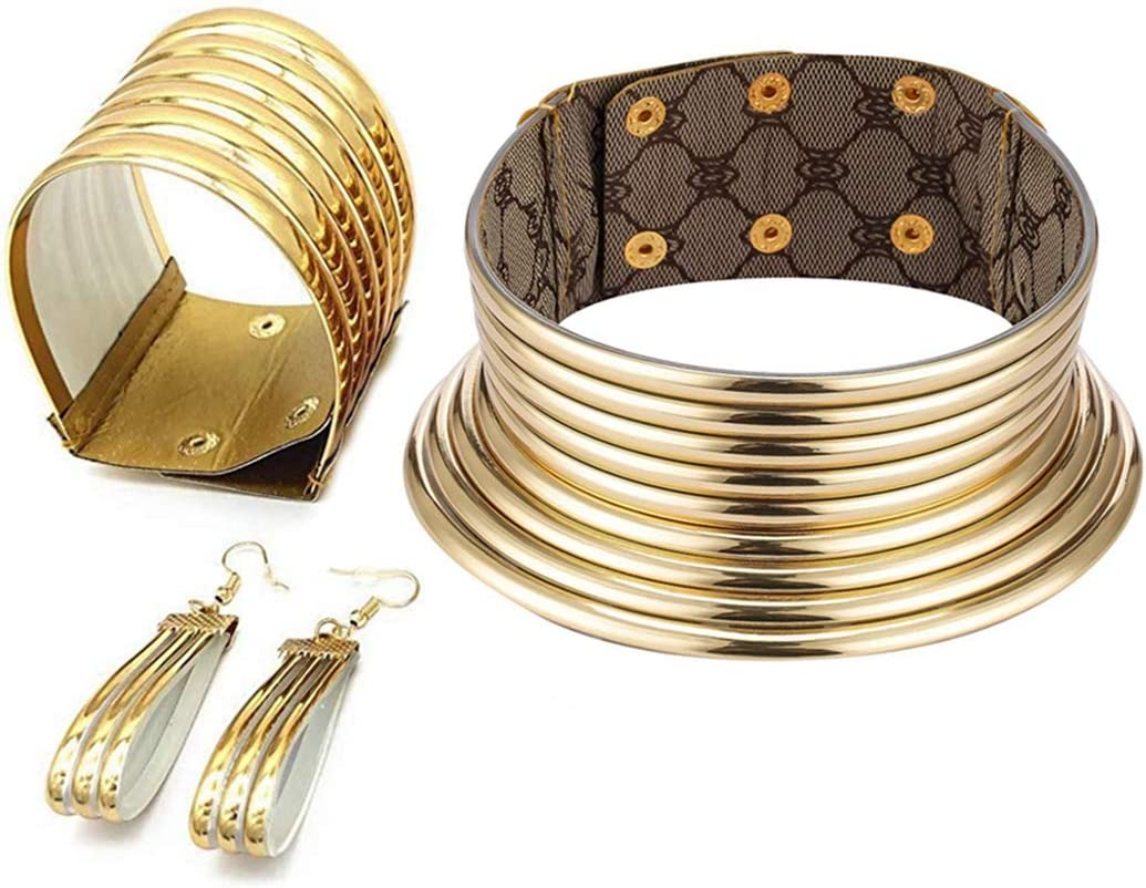 Aijian African Jewelry Statement Chokers Egypt Gold Tone Choker Chunky Leather Collar Necklace/African Choker Punk Necklace Gothic (c-1 set (gold))