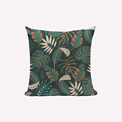 Funda de Almohada de Lino de algodón con Funda de Almohada Decorativa para el Dormitorio Funda de Almohada con Hojas de Palmera Verde 45 * 45 cm-01