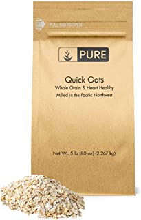 Quick Oats (5 lb.) by Pure Organic Ingredients, Eco-Friendly Packaging, for Everything From Quick Breakfasts to Face Masks & More!