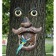 ALLADINBOX Tree Face Birdfeeder - Old Man with Glowing Eyes in Dark Outdoor Tree Hugger Sculpture - Whimsical Garden Decoration and Wild Birdfeeder Yard Art