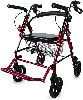 Andador para ancianos, Aluminio, Plegable, Frenos en manetas, Asiento y respaldo, 4 ruedas, Burdeos, Colón, Mobiclinic