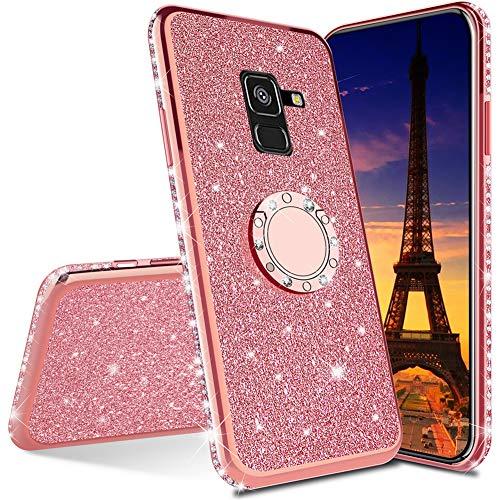QIWEIQING Compatible avec Samsung Galaxy J4 Plus / J4 Prime Coque Ultra-Mince Glitter Rotatif Support Housse de Protection Couverture de Téléphone Portable pour Galaxy J4 Plus / J4 Prime Rose Gold KDL