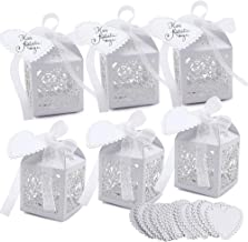 VGOODALL 100 Pcs Party Favor Box,Pearl White Paper Laser Cut Heart Gift Candy Box,Wedding Decoration with 100 Ribbon and 100 Blank Love Heart Tags