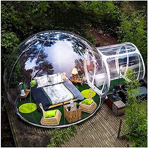 ESACLM Aufblasbares Blasenzelt Transparent Campingzelt Familien Kuppel Bubble House mit Luftpumpe Perfekt 360 ° Panorama Kuppel für Entspanne den Körper Blick auf die Sterne,3M
