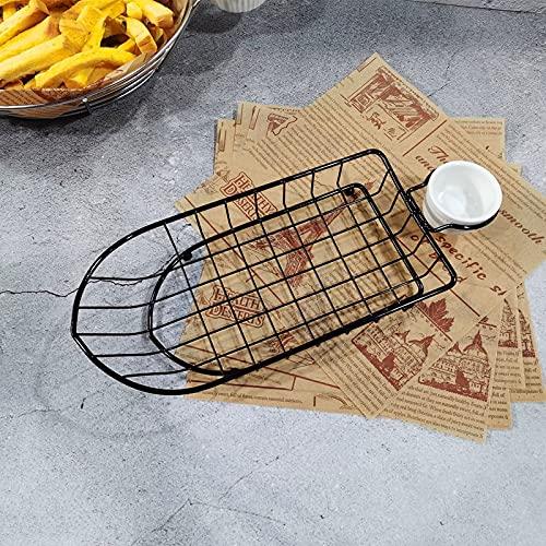 T1 Hierro forjado fruta portátil cesta de almacenamiento pan fritas fritas bocadillos fritos cesta portátil sola taza barco