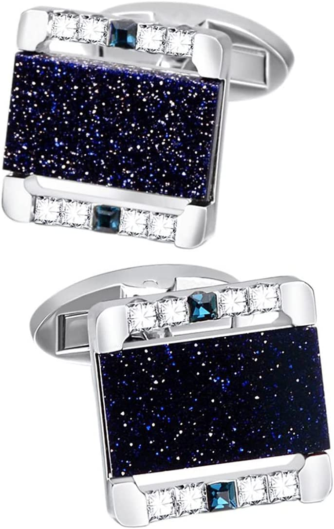 BO LAI DE Men's Cufflinks Light Luxury Square Blue Sandstone Crystal Cuff Links Suitable for Business Events, Meetings, Dances, Weddings, Tuxedos, Formal Wear, Shirts, with Gift Boxes