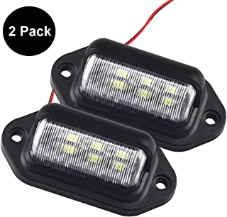 2 Pack 12V LED License Plate Light Lamp for Trailer Truck SUV Van, 6 SMD Exterior Step Courtesy Dome Lights Roof Trunk/Cargo Underhood Lamps Tags