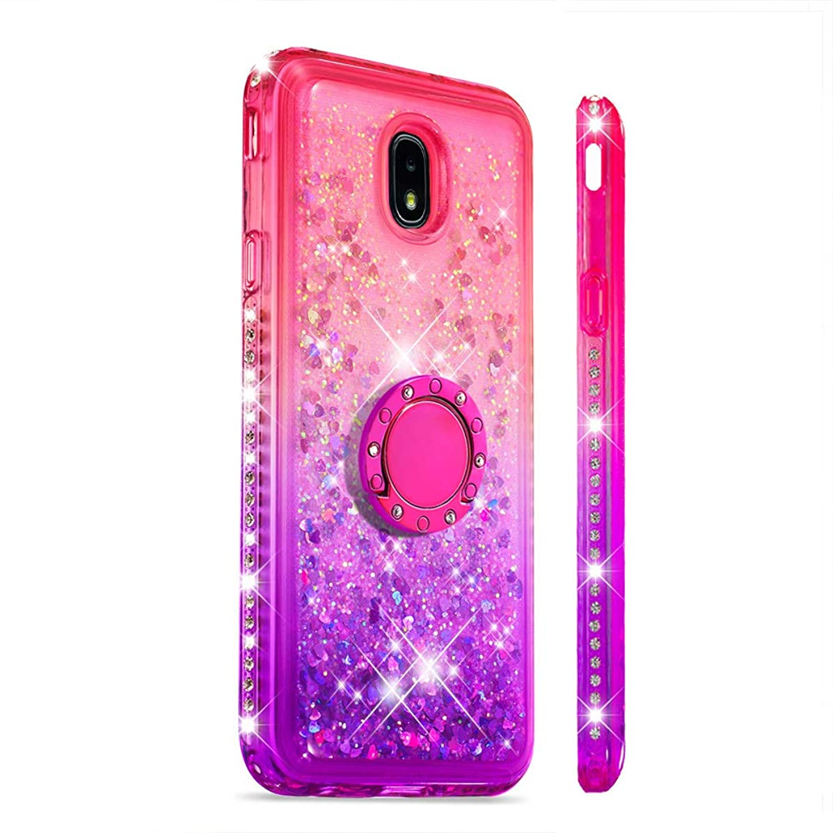 Galaxy J7 2018 Case, J7 V 2nd/J7 Refine/J7 Star/J7 Aero/J7 Crown/J7 Top/J7 Aura Case, Rosepark Glitter Bling Diamond Flowing Liquid Quicksand TPU Gradient Case with Ring Holder (Gradient Pink/Purple)