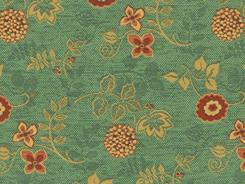 Landhaus Möbelstoff Ellmau Farbe 72 (grün, hellgrün) mit biologischem Fleckschutz - modernes Chenille-Flachgewebe (gemustert, floral, Blumen) Polsterstoff, Stoff, Bezugsstoff, Eckbank, Couch, Sessel, Hussen, Kissen