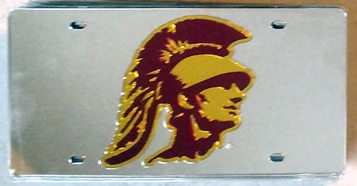 USC Trojans Silver SD95043 Deluxe Laser Cut Mirrored License Plate Tag University of Southern California Cal