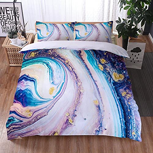 Bedclothes-Blanket Juego de sabanas Cama 150,Ropa de Cama Juego de Tres Piezas de Almohadas 3D Impresión Digital de mármol Colorido-8_260x220cm