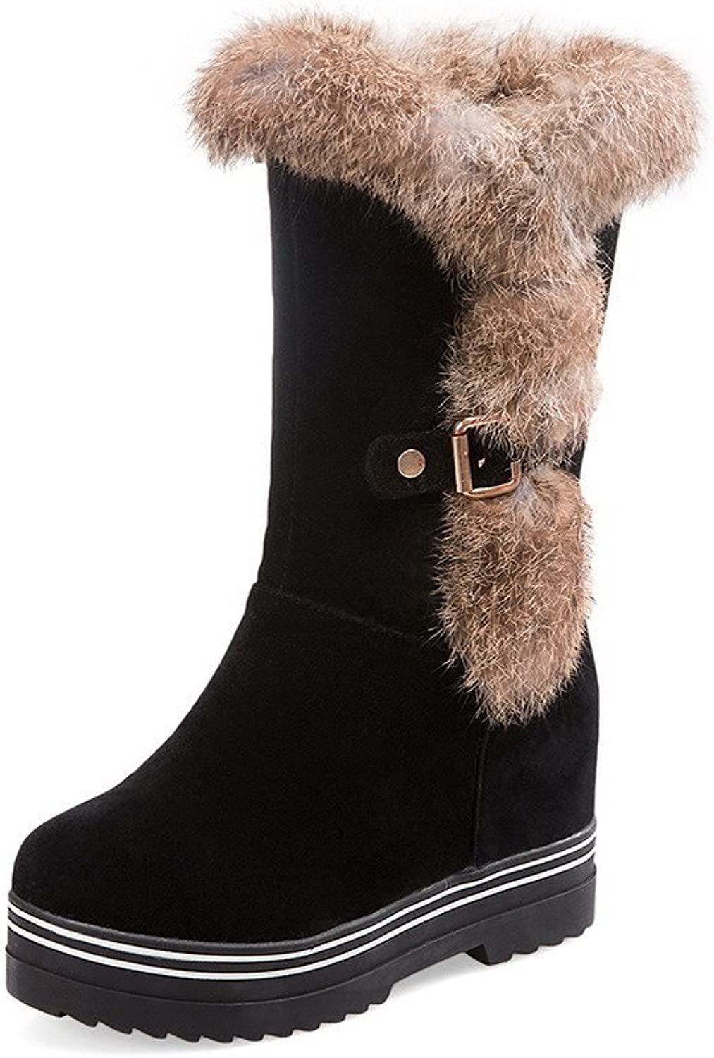 AllhqFashion Women's Frosted Pull-on Round Closed Toe High-Heels Mid-top Boots