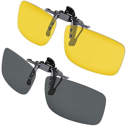 Clip Solaire, Gritin Polarized lunettes de soleil  Lot de 2 Vision Nocturne  + 3b78096af26b