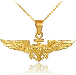 American Heroes Solid 10k Gold US Naval Aviator Wings Pendant Necklace
