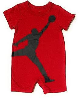 Michael Jordan Baby Boys Short Sleeve Shortall Romper (Red, 3-6 Months)
