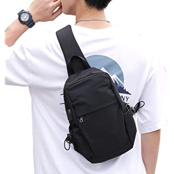 Small Black One Strap Backpack Sling Bag Crossbody Backpack for Men Women, Lightweight Waterproof Sling Backpack Shoulder Bag for Hiking Walking Biking Travel Cycling USB Charger Port-Nylon