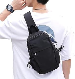 Small Black Sling Crossbody Backpack Shoulder Bag for Men Women, Lightweight Waterproof One Strap Backpack Sling Bag Backpack for Hiking Walking Biking Travel Cycling USB Charger Port-Nylon