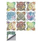 decalmile 10 Piezas Pegatinas de Azulejos 15x15cm Vistoso Marroquí Adhesivo Decorativo para Azulejos Cocina Baño Decoración