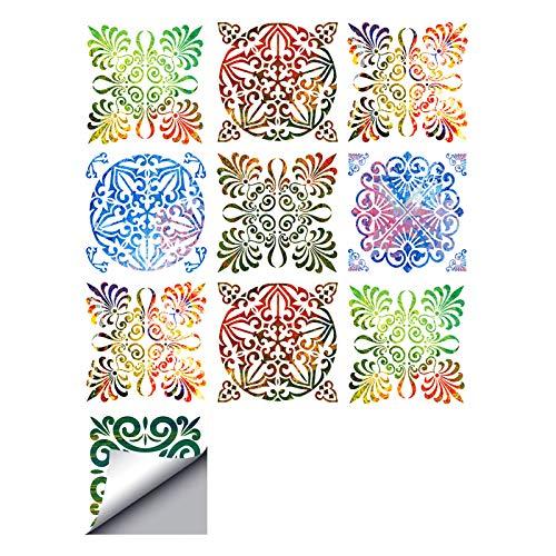 decalmile 10 Stück Fliesenaufkleber 15x15cm Bunt Marokkanische Porzellan Wandfliese Fliesensticker Küche Badezimmer Deko