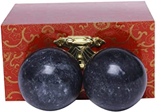 1.4'' Chinese Exercise Baoding Balls Dark Grey Marble Health Stress Relieve with No Chimes BS021